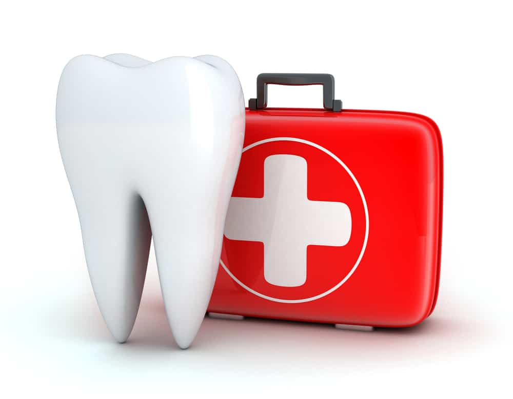 Tooth and Medicine chest on white background